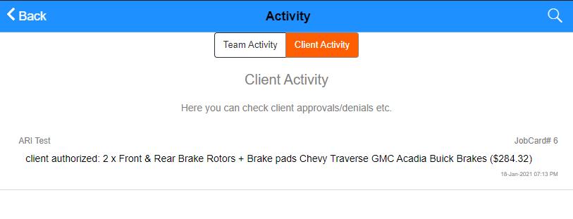 auto repair client activity