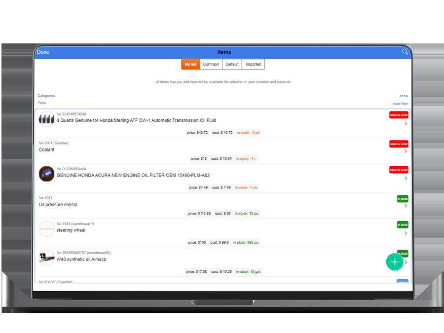 auto repair software features: inventory management Macbook