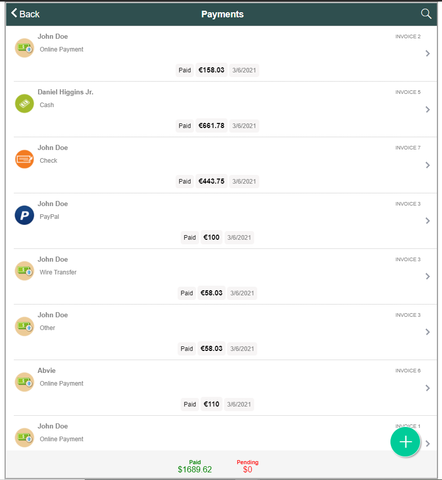 all payments records in ARI