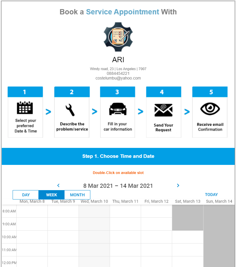 ARI online booking page