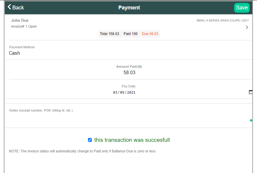 screenshot displaying the payment creating form