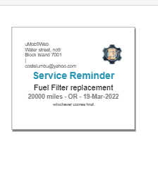 screenshot of a service reminder sticker