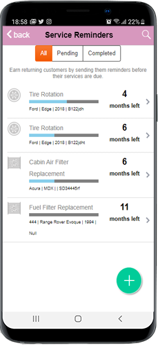 auto repair service reminders iphone