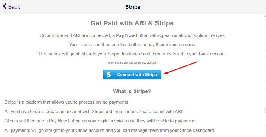 how to connect to stripe and ARI