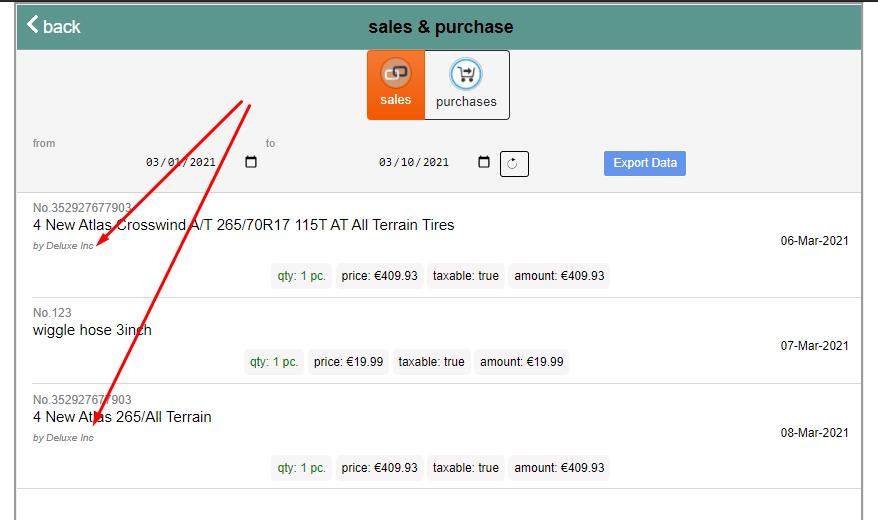 screenshot of how supplier name is exposed in the reports section of ARI