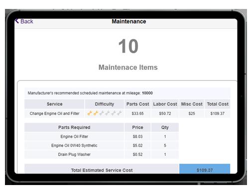 full maintenance items for VIN