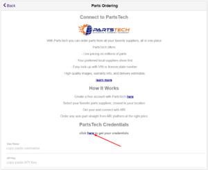 get your PartsTEch credentials