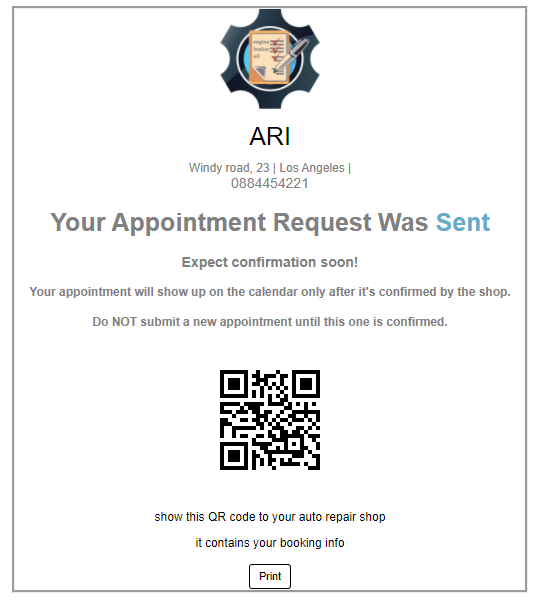 appointment confirmation QR code