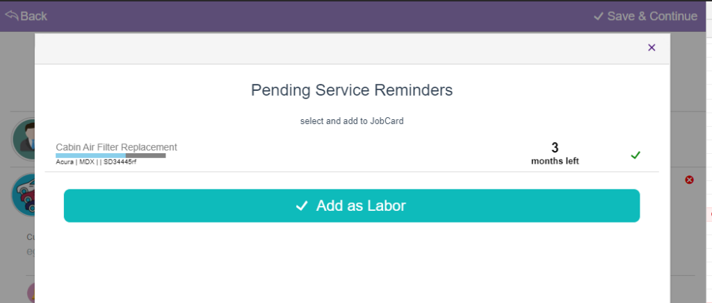 pending service reminders in jobcards