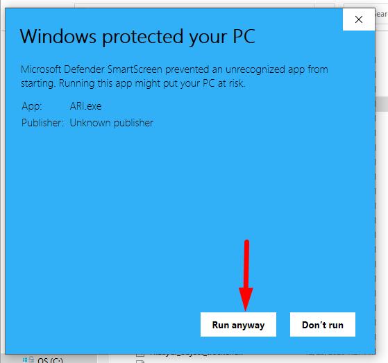 run anyway button to start ari app on windows