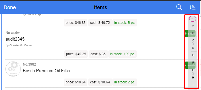 alphabetical filter bar for parts