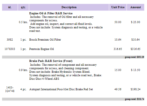 grouped items on auto repair invoice