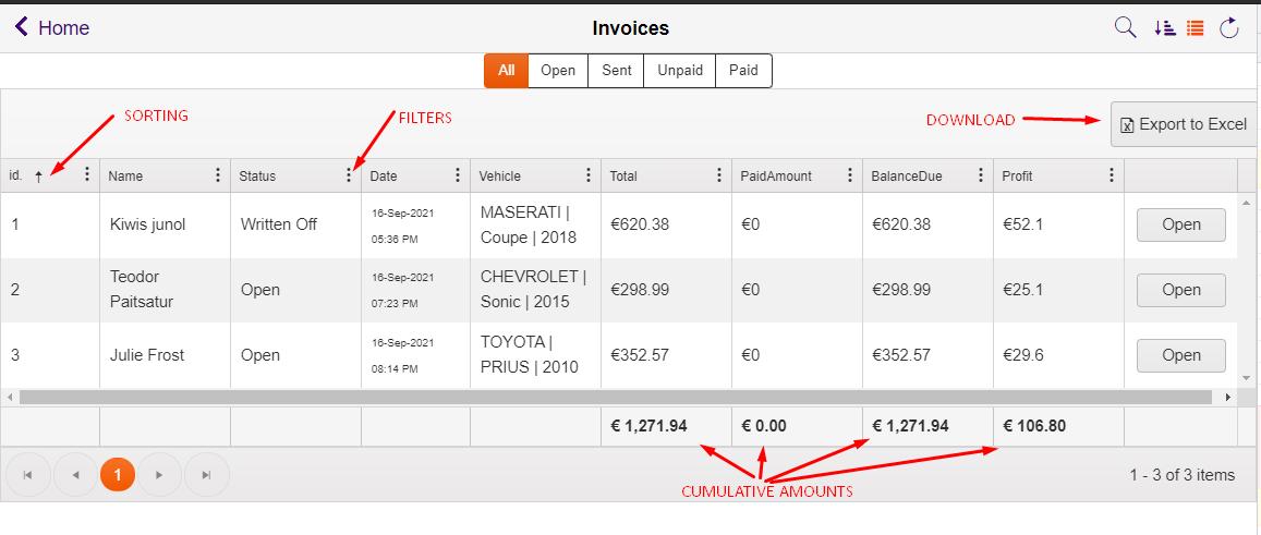 auto repair invoice gridview
