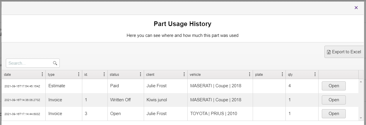 parts usage table